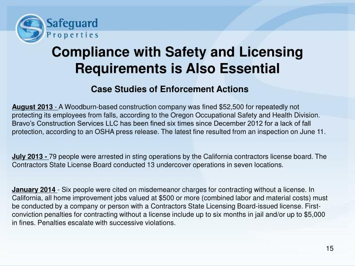 Compliance with Safety and Licensing Requirements is Also Essential