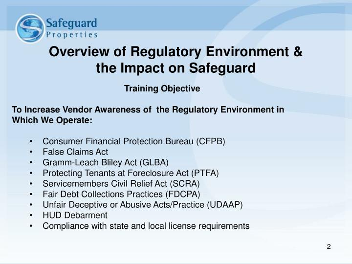 Overview of Regulatory Environment &