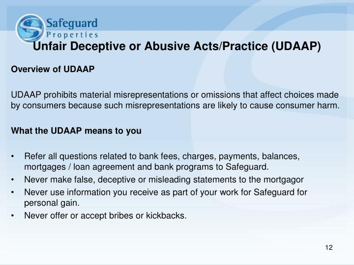 Unfair Deceptive or Abusive Acts/Practice (UDAAP)