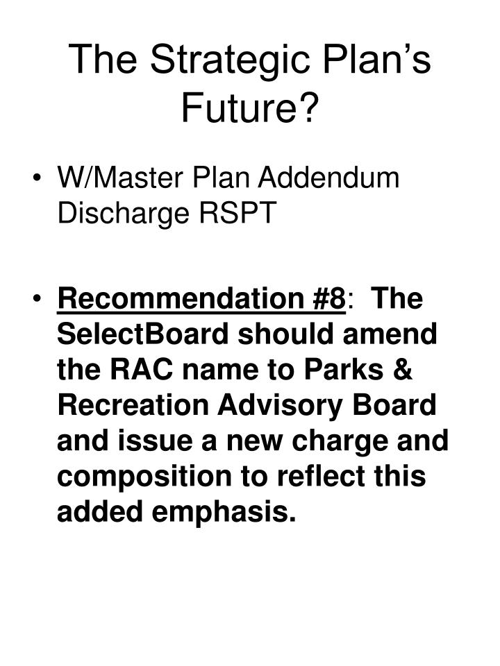 The Strategic Plan's Future?