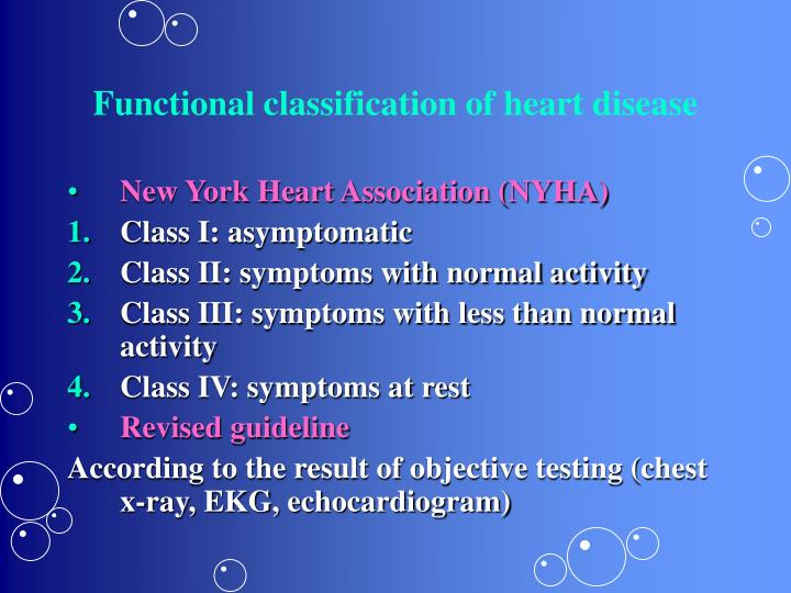 Functional classification of heart disease