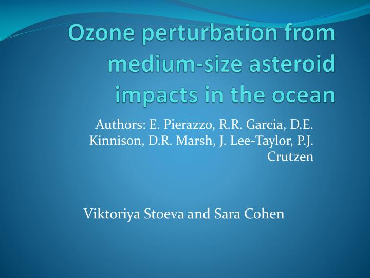 Ozone perturbation from medium size asteroid impacts in the ocean