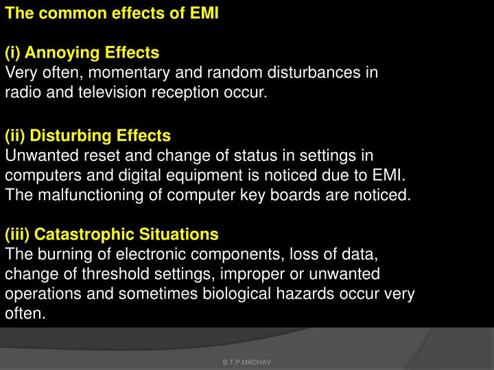 The common effects of EMI