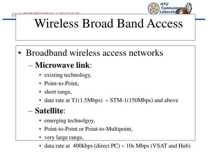 Broadband wireless access networks