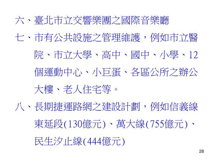 六、臺北市立交響樂團之國際音樂廳