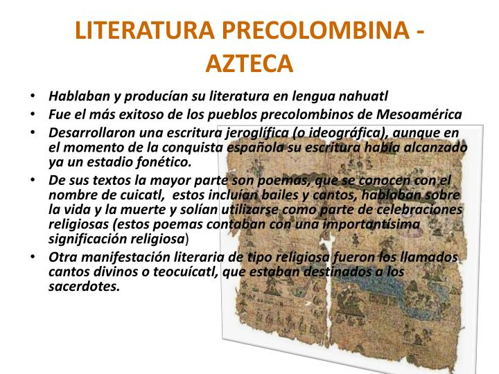 LITERATURA PRECOLOMBINA - AZTECA