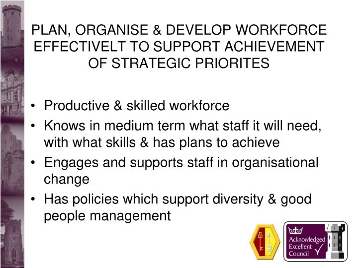 PLAN, ORGANISE & DEVELOP WORKFORCE EFFECTIVELT TO SUPPORT ACHIEVEMENT OF STRATEGIC PRIORITES