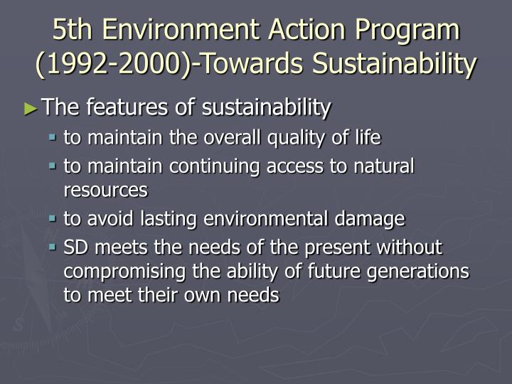 5th Environment Action Program (1992-2000)-Towards Sustainability