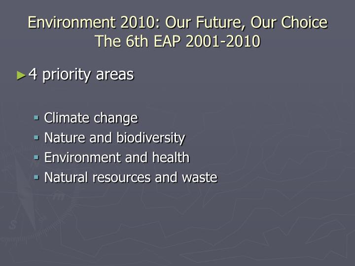 Environment 2010: Our Future, Our Choice