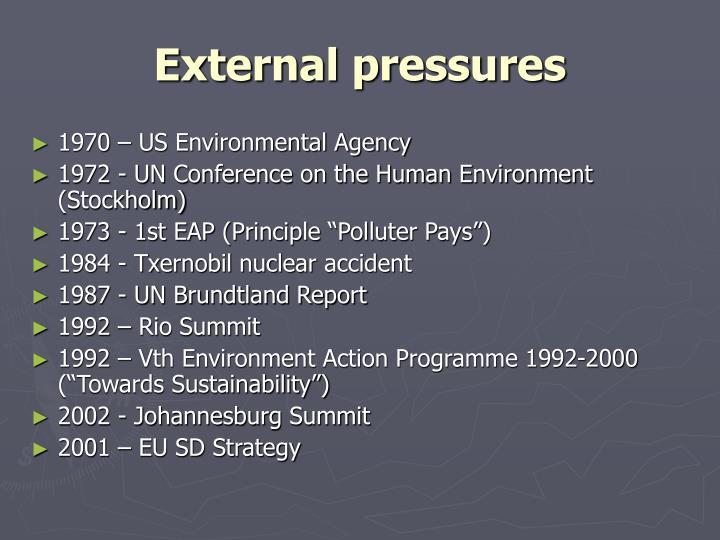 External pressures
