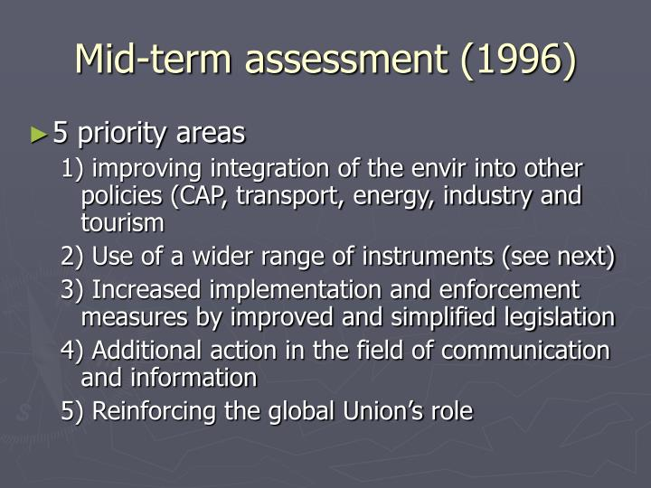 Mid-term assessment (1996)