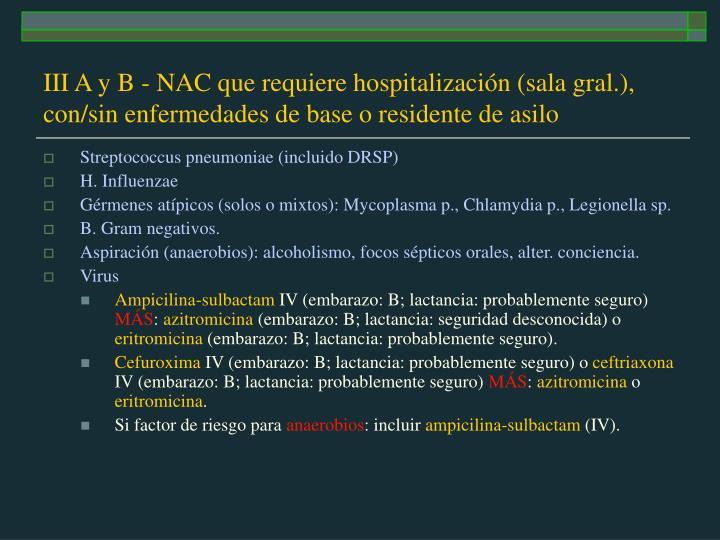III A y B - NAC que requiere hospitalización (sala gral.), con/sin enfermedades de base o residente de asilo