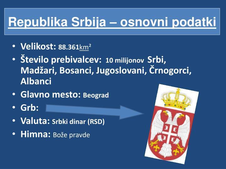 Republika Srbija – osnovni podatki