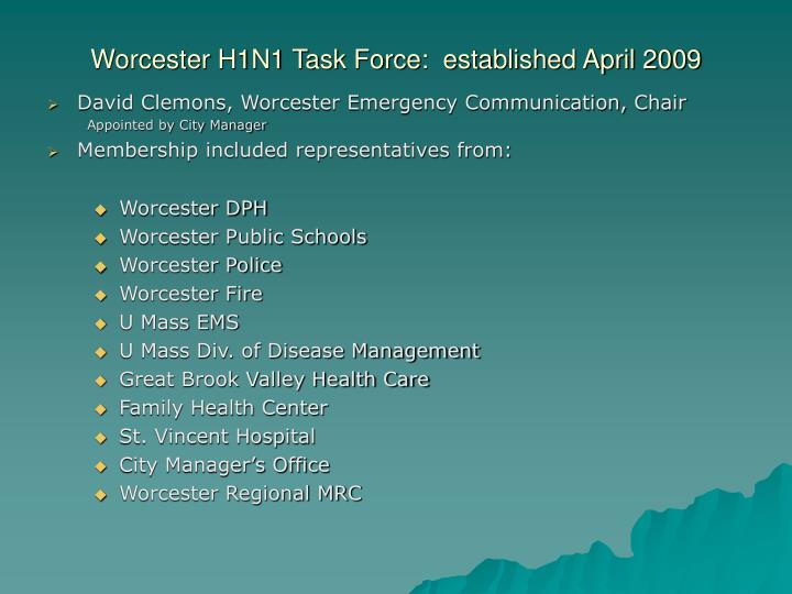 Worcester h1n1 task force established april 2009