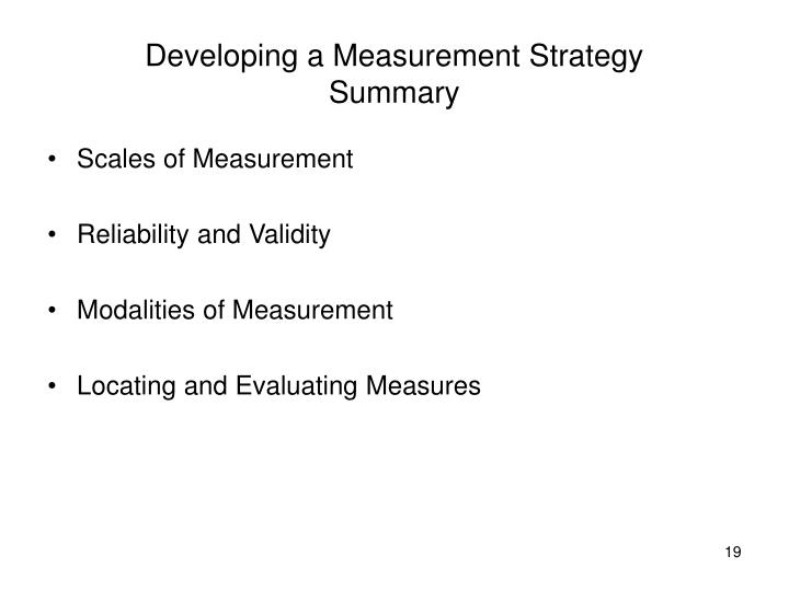 Developing a Measurement Strategy