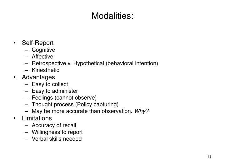 Modalities: