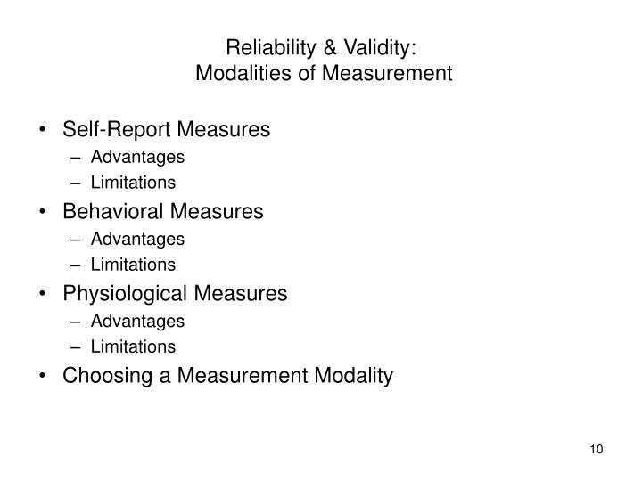 Reliability & Validity: