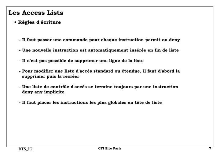 Les Access Lists