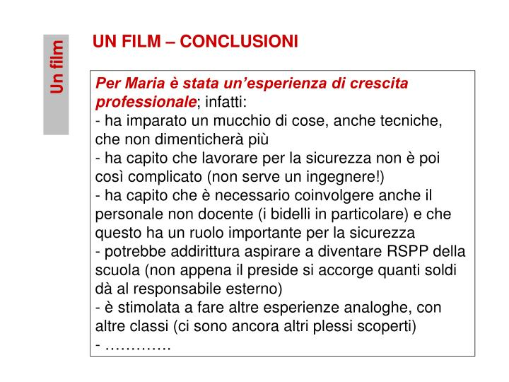 UN FILM – CONCLUSIONI