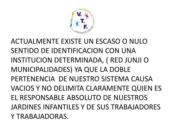 ACTUALMENTE EXISTE UN ESCASO O NULO SENTIDO DE IDENTIFICACION CON UNA INSTITUCION DETERMINADA, ( RED JUNJI O MUNICIPALIDADES) YA QUE LA DOBLE PERTENENCIA  DE NUESTRO SISTEMA CAUSA VACIOS Y NO DELIMITA CLARAMENTE QUIEN ES EL RESPONSABLE ABSOLUTO DE NUESTROS JARDINES INFANTILES Y DE SUS TRABAJADORES Y TRABAJADORAS.