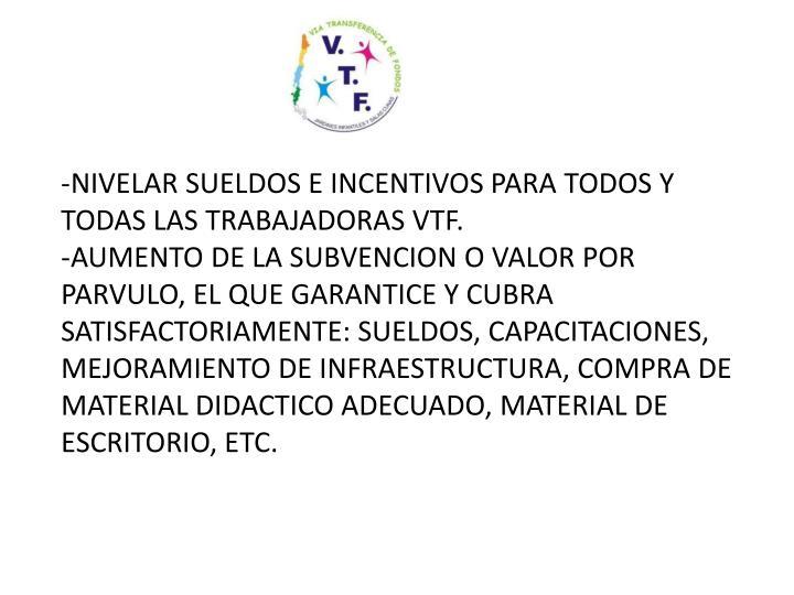 NIVELAR SUELDOS E INCENTIVOS PARA TODOS Y TODAS LAS TRABAJADORAS VTF.