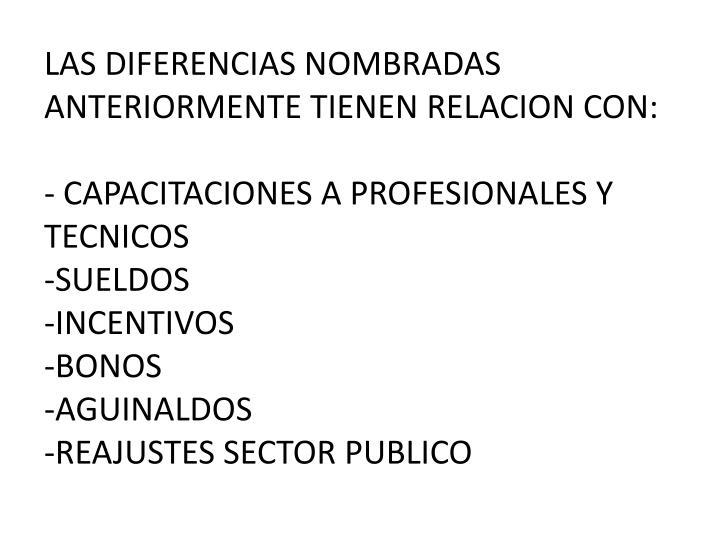 LAS DIFERENCIAS NOMBRADAS ANTERIORMENTE TIENEN RELACION CON: