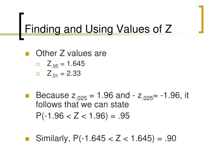 Finding and Using Values of Z
