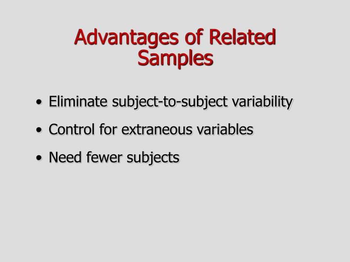 Advantages of Related Samples