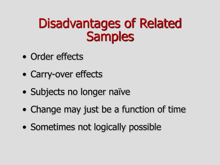 Disadvantages of Related Samples