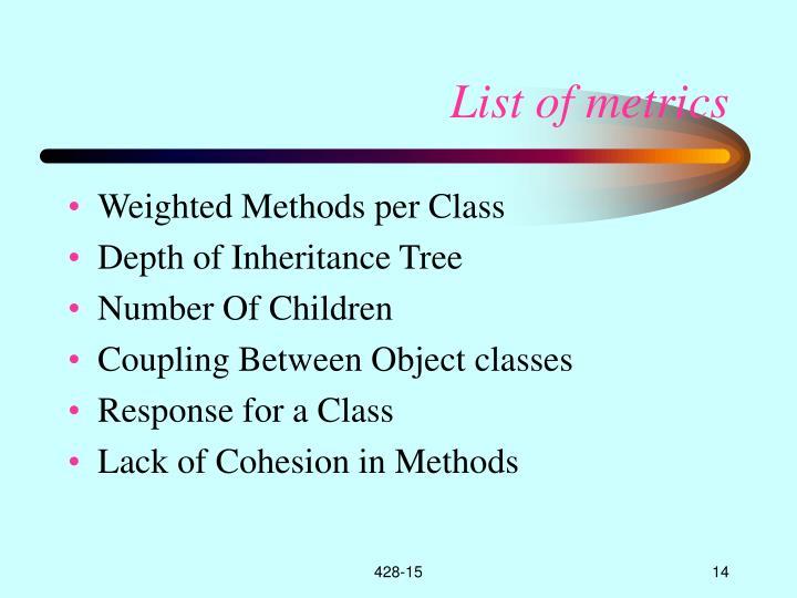 List of metrics