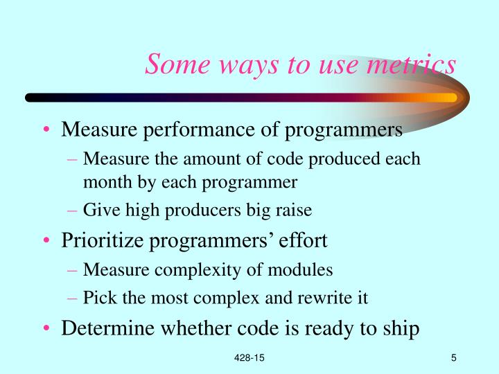 Some ways to use metrics