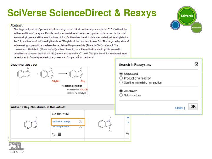 SciVerse ScienceDirect & Reaxys