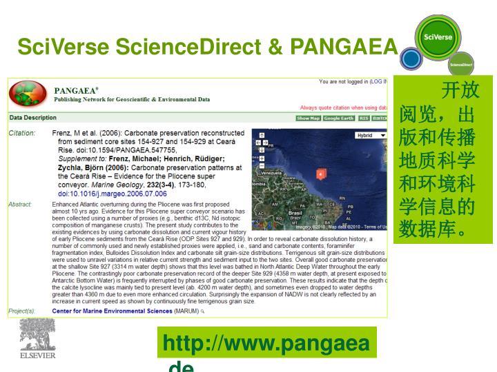 SciVerse ScienceDirect & PANGAEA