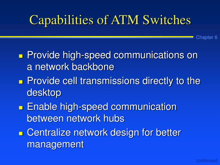 Capabilities of ATM Switches