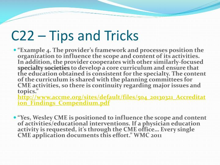 C22 – Tips and Tricks