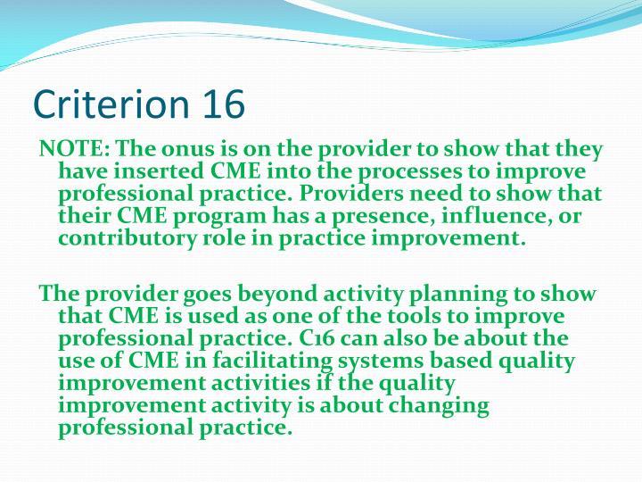 Criterion 16