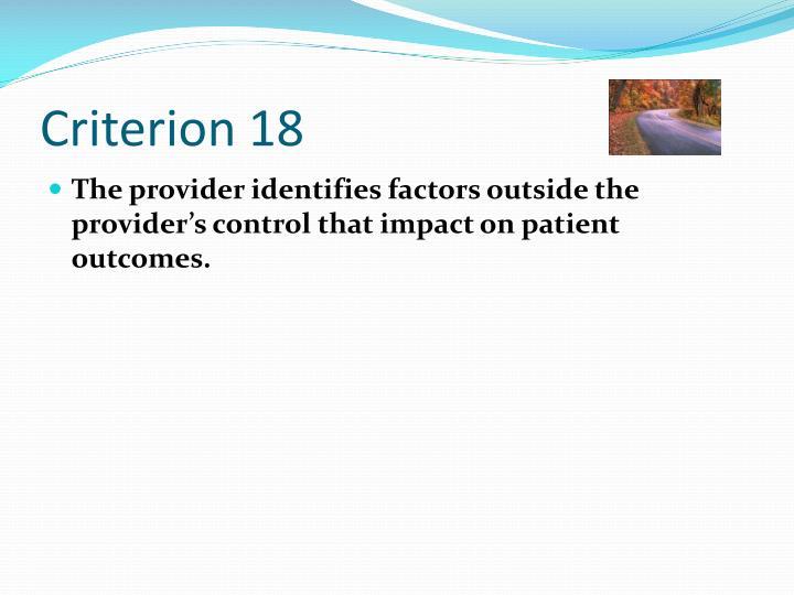 Criterion 18