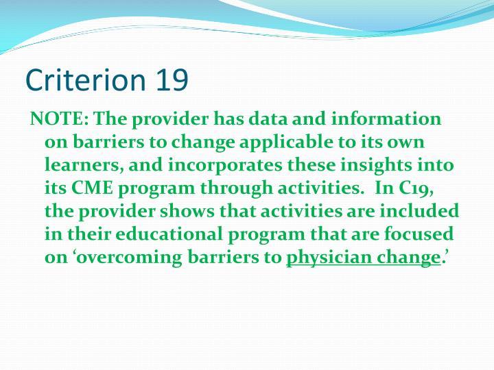 Criterion 19