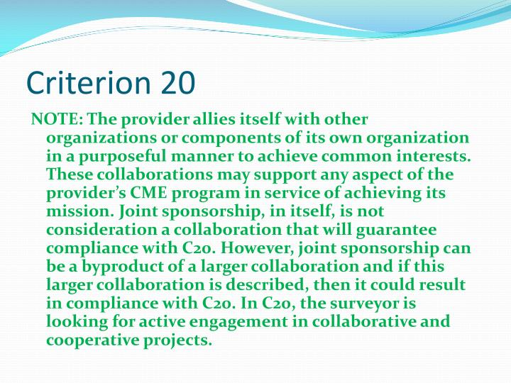 Criterion 20