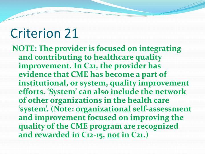 Criterion 21