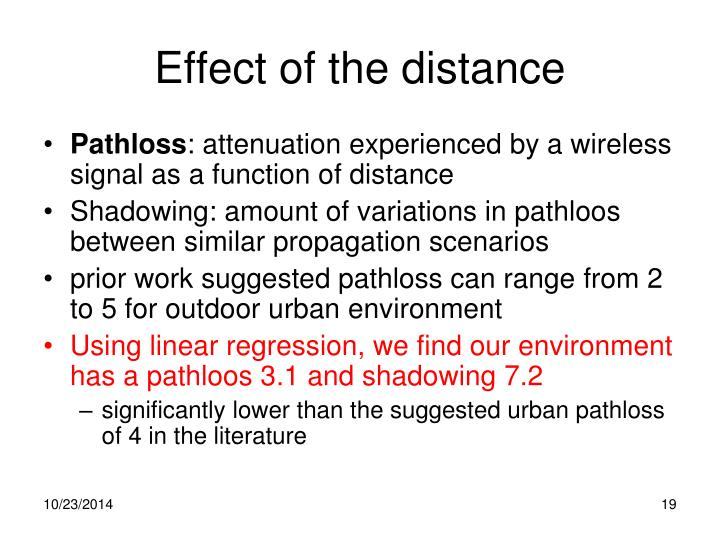 Effect of the distance
