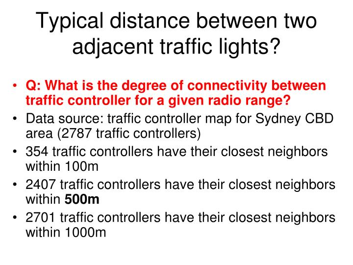 Typical distance between two adjacent traffic lights?