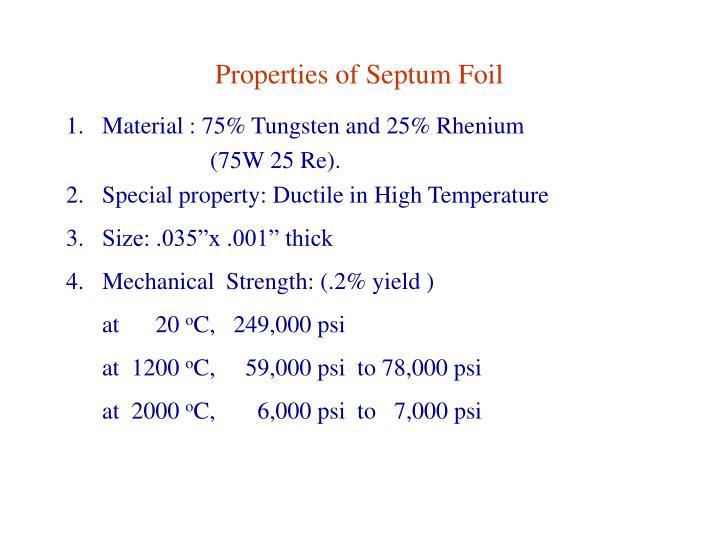 Properties of Septum Foil