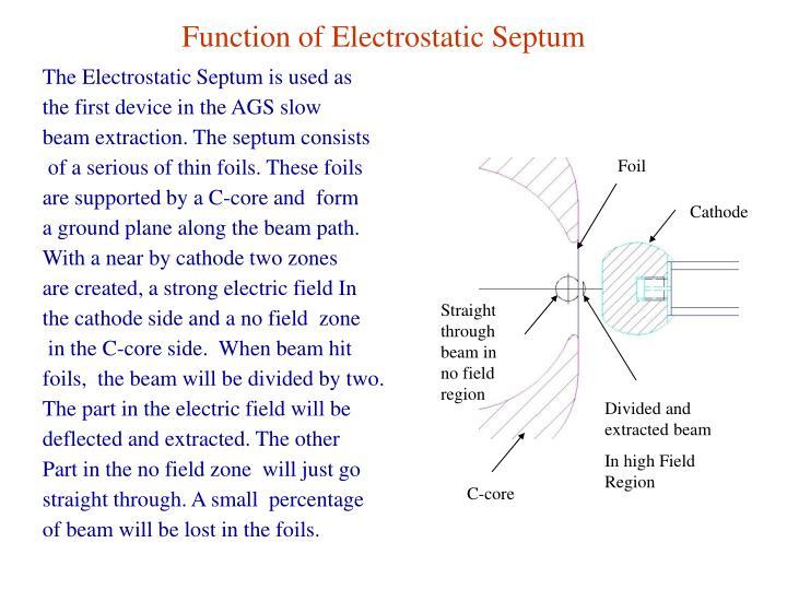 Function of Electrostatic Septum