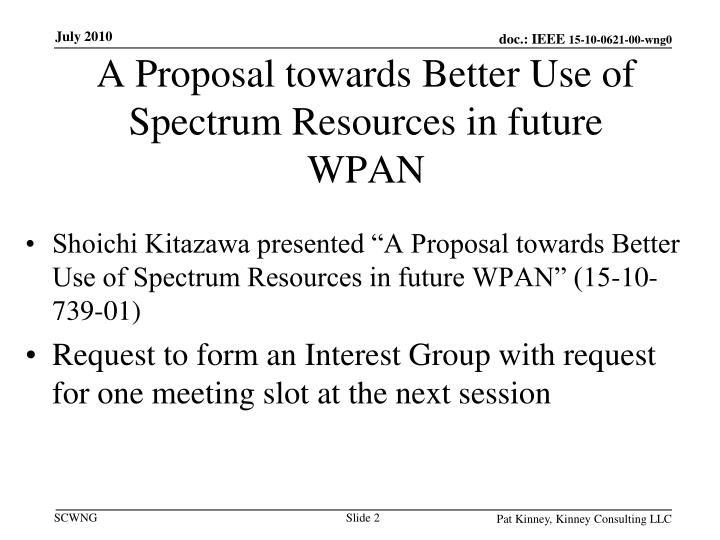 A proposal towards better use of spectrum resources in future wpan
