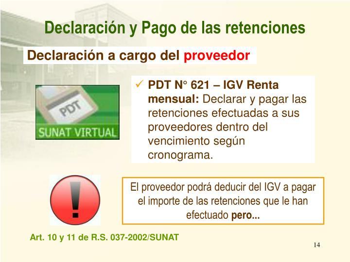 PDT N° 621 – IGV Renta mensual: