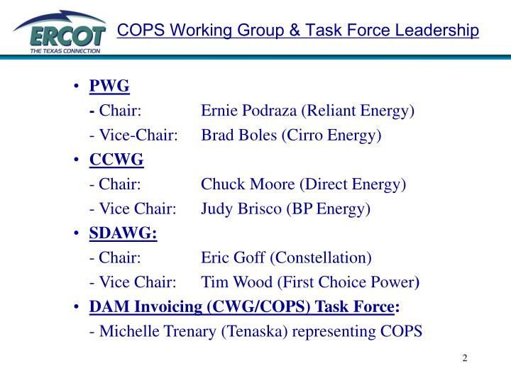 Cops working group task force leadership
