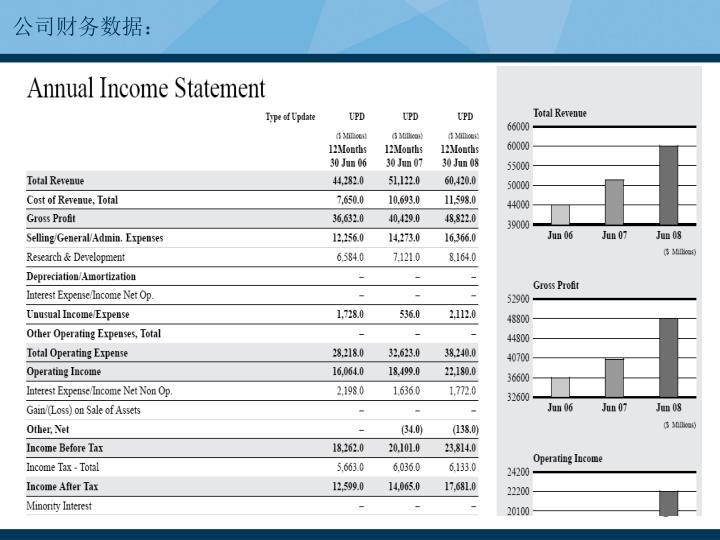 公司财务数据: