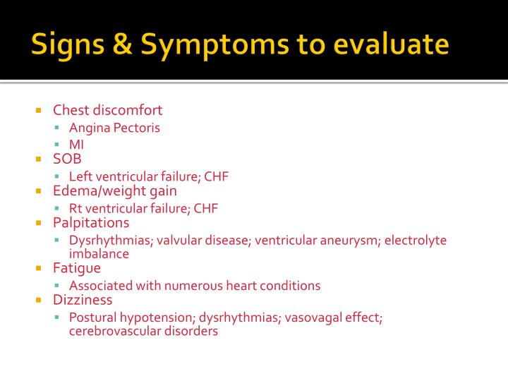 Signs & Symptoms to evaluate