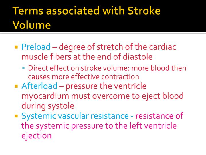 Terms associated with stroke volume